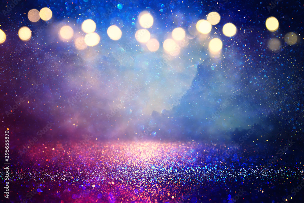 Fototapety, obrazy: abstract glitter silver, purple, blue lights background. de-focused