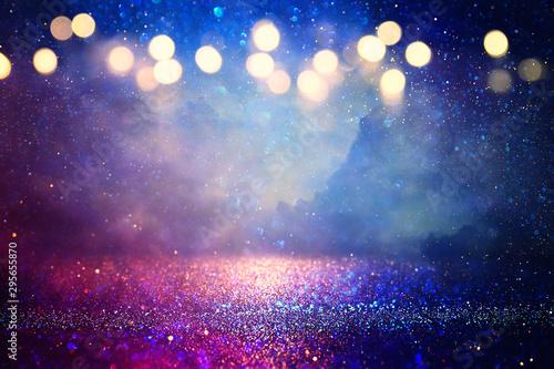 Fotografía  abstract glitter silver, purple, blue lights background
