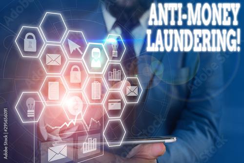 Photo Writing note showing Anti Money Laundering
