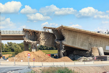 View Of The Destroyed Road Bridge As The Consequences Of A Natural Disaster