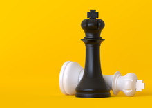 Black And White King Chess Piece Isolated On Pastel Yellow Background. Chess Game Figurine. Chess Pieces. Board Games. Strategy Games. Creative Minimal Concept. 3d Illustration, 3d Rendering