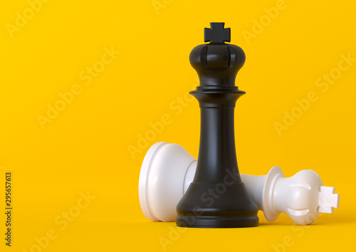 Fototapeta Black and white king chess piece isolated on pastel yellow background. Chess game figurine. Chess pieces. Board games. Strategy games. Creative minimal concept. 3d illustration, 3d rendering obraz