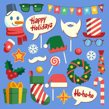 Christmas Photo Booth. Holiday Props Santa Hat And Beard, Glasses And Gift Box. Face Mask And Elf Hats, Snowman And Snowflakes Vector Set