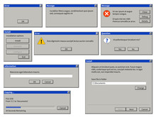 Old User Interface Window. Old Computer Retro Browser Dialog Box With Buttons. Warning System Messages Vector Templates