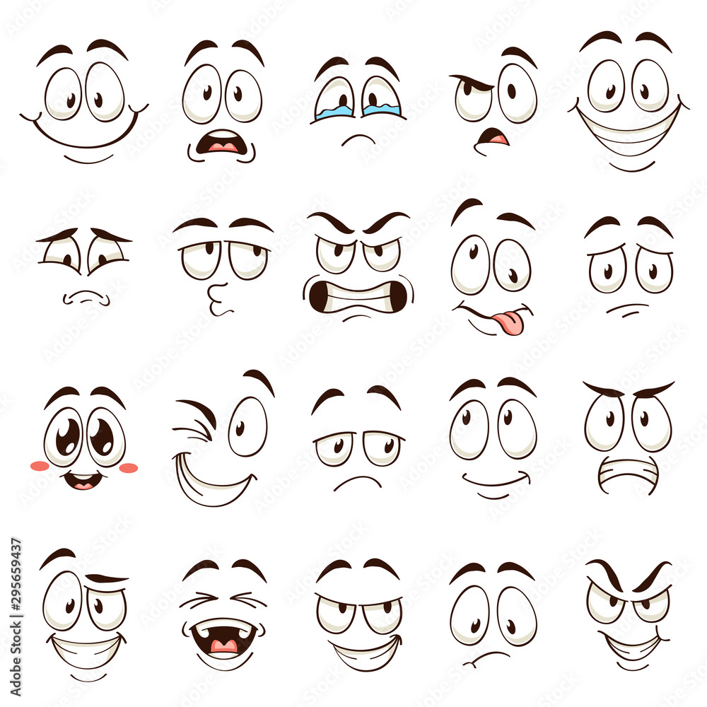 Fototapeta Cartoon faces. Caricature comic emotions with different expressions. Expressive eyes and mouth, funny flat vector characters set