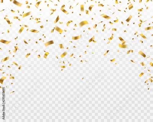 Obraz Golden confetti. Falling gold foil ribbons, flying yellow glitter. Christmas holiday and anniversary party vector isolated texture - fototapety do salonu