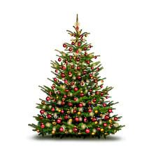Bunt Dekorierter Weihnachtsbau...