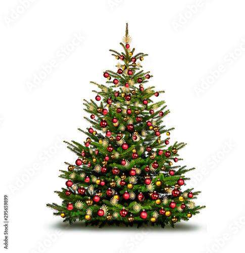 Fototapeta Bunt dekorierter Weihnachtsbaum vor weißem Hintergrund obraz