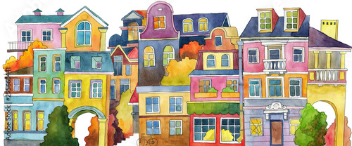Set of watercolor houses isolated on white background. Children's illustration. Seamless background.