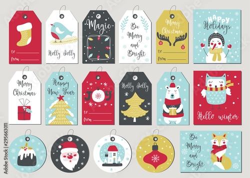 Fotografía  Set of merry christmas tags and cards with hand drawing elements