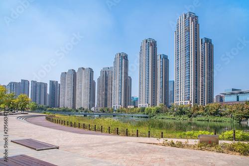 Meixi Lake City Island Viewing Platform and Construction of Intensive Real Estat Wallpaper Mural
