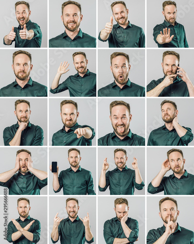 Fotografiet Set of handsome man with different emotions and gestures