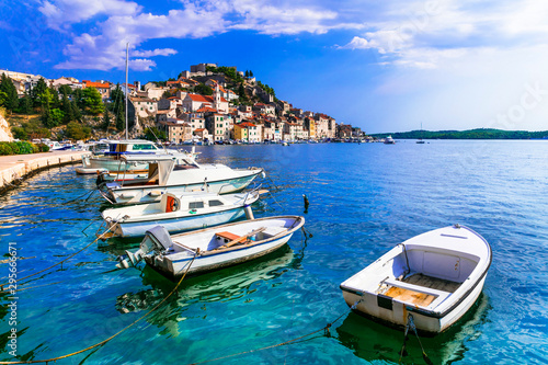Beautiful places of Croatia - magnifiicent medieval coastal town Sibenik in Dalmatia