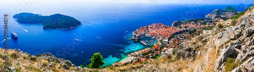 Splendid Dubrovnik. Aerial view with nearest island and cruise ship. Croatia travel