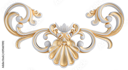 Fotomural  White ornament with gold patina on a white background. Isolated