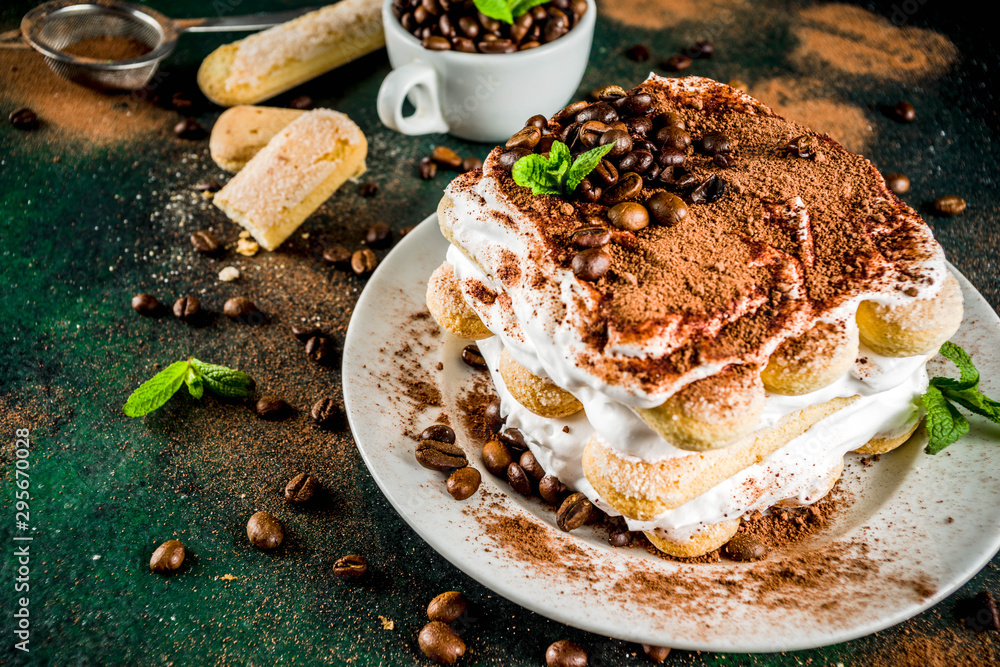 Fototapeta Homemade dessert tiramisu on plate