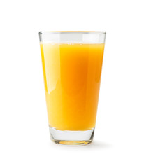 Orange Juice In A Glass Close-up On A White. Isolated