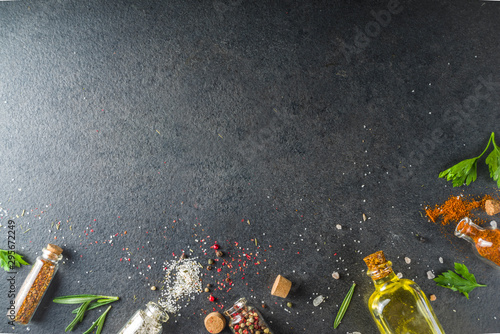 Fototapeta Cooking food background with herbs, olive oil and spices obraz
