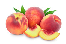 Ripe Peach Fruit And Slice Wit...