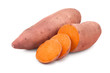 Sweet potato isolated on white background closeup