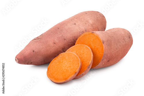 Sweet potato isolated on white background closeup
