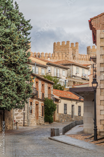 Old buildigs and fortification walls of the old town in Avila, Spain.