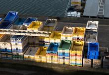 Empty Plastic Crates Stacked U...
