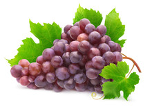 Isolated Grape. Bunch Of Red Grapes With Leaves On A Branch Of Vine Isolated On White Background With Clipping Path