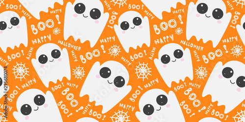 plakat Vector pattern with cute cartoon ghosts on orange background. Festive Halloween template, print. Funny phantoms, spider web, congratulatory inscriptions. Creative design.