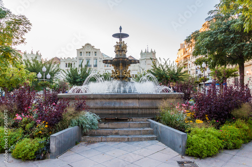 Fountain at Plaza Navarra square in Huesca, Spain.