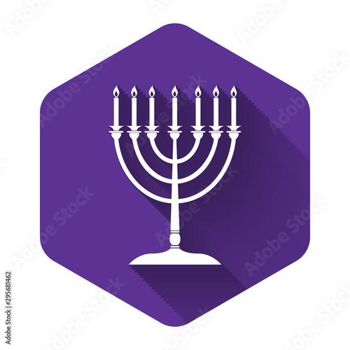 White Hanukkah menorah icon isolated with long shadow Canvas Print