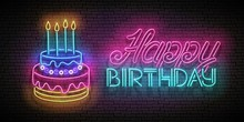 Glow Greeting Card With Cake, Candles And Happy Birthday Inscription
