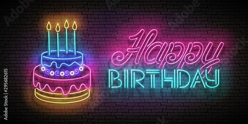 Glow Greeting Card with Cake, Candles and Happy Birthday Inscription Wallpaper Mural