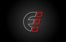 Alphabet Line E Letter Red Black For Company Logo Icon Design