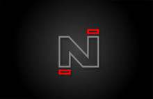 Alphabet Line N Letter Red Black For Company Logo Icon Design