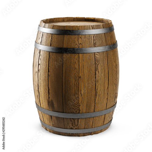 Cuadros en Lienzo Wooden barrel isolated on white background