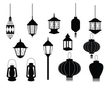 Silhouette Of Lantern Icon Illustration Chinese Japanese