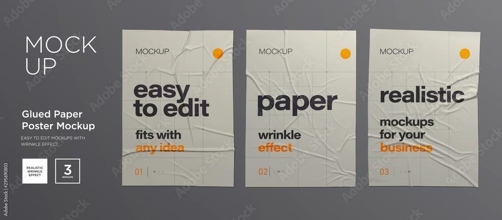 Fototapeta Wrinkled poster template set. Glued paper. Vector Realistic wet wrinkled posters mockup