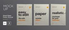 Wrinkled Poster Template Set. ...