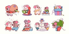 Vector Illustration With Cartoon Mice - Symbol Of The Chinese New Year 2020. Mice Stickers With Christmas Attributes. Can Be Used As Holiday Card Design Elements.