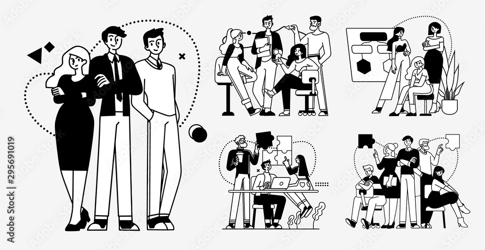Fototapeta Collection of succesfull team illustrations . Bundle of men and women taking part in business meeting, negotiation, brainstorming, talking to each other. Teamwork concept outline vector illustrations.