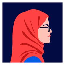 Profile Of A Muslim Girl. Side...