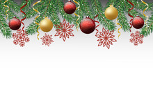 Merry Christmas And Happy New Year. Horizontal Banner With Christmas Tree Snowflakes And Ornaments. Hanging Gold And Red Balls And Ribbons. Great For Flyers, Posters, Headers. Vector Illustration.