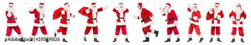 Photo  Collage with Santa Clauses on white background