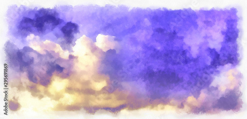 Foto auf Leinwand Flieder Beatiful Sky with Clouds Watercolor Painting on Paper