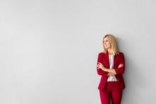 Beautiful Stylish Businesswoman On Light Background