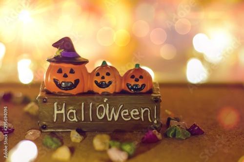 Jack O Lantern Halloween Pumpkin bright with bokeh effect background, bokeh light, Halloween background, holiday celebration Canvas Print