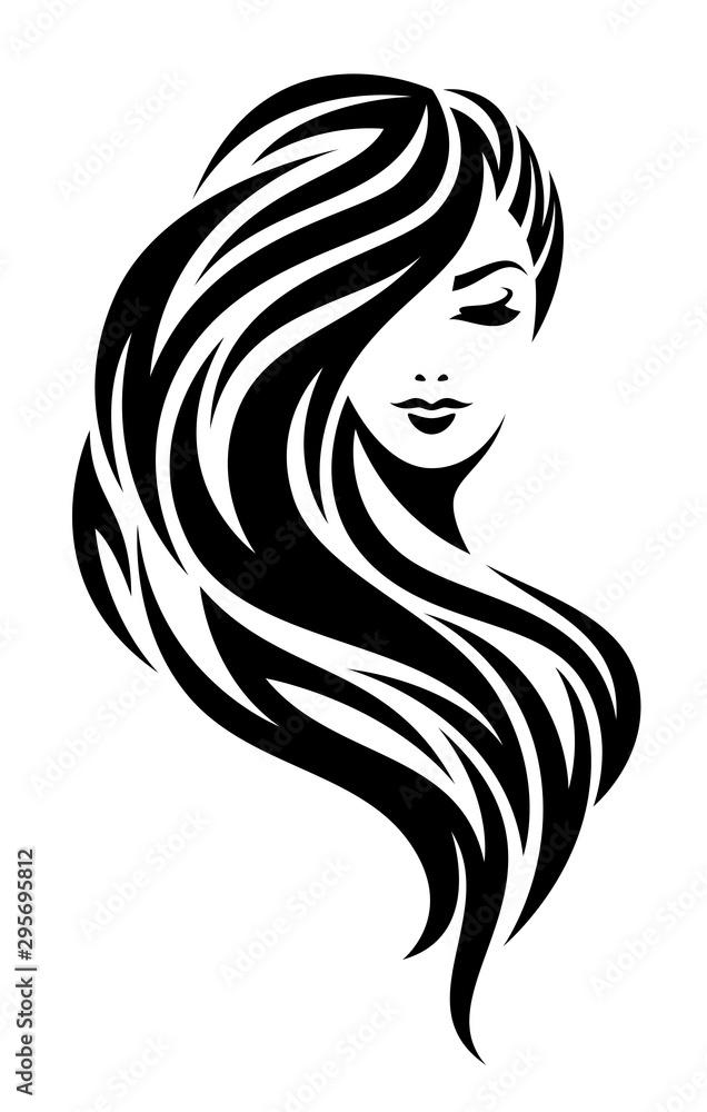 Fototapeta Woman head on a white background