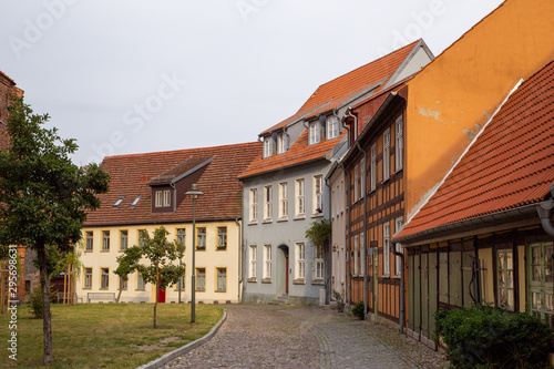 Fotomural  The streets of Wolgast with many old houses