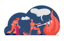 Couple Of Firemen Fighting With Blaze At Burning House. Brave Male Characters Team In Firefighters Uniform And Hats Extinguish With Big Fire Spraying Water From Hose. Cartoon Flat Vector Illustration